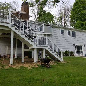 white deck stairs painted