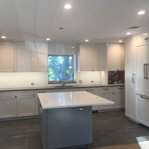 kitchen cabinet and island painting